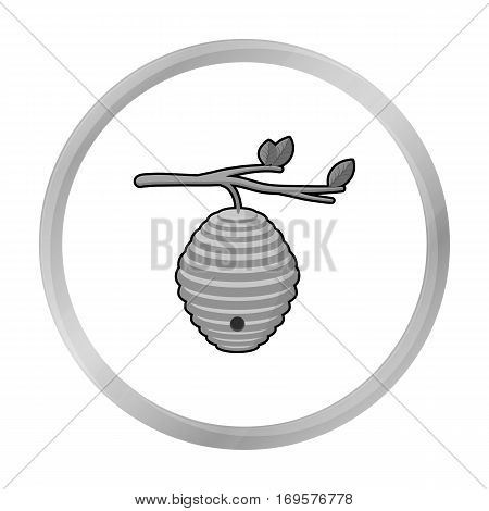 Beehive icon in monochrome style isolated on white background. Apiary symbol vector illustration