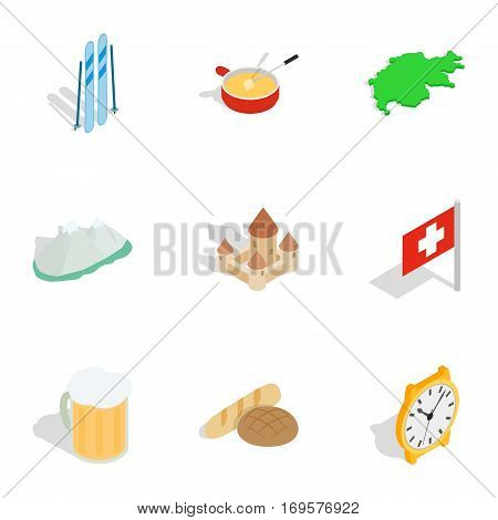 Switzerland cultural elements icons set. Isometric 3d illustration of 9 Switzerland cultural elements vector icons for web
