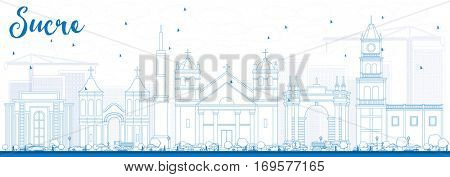 Outline Sucre Skyline with Blue Buildings. Business Travel and Tourism Concept with Historic Architecture. Image for Presentation Banner Placard and Web Site.