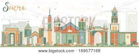 Abstract Sucre Skyline with Color Buildings. Business Travel and Tourism Concept with Historic Architecture. Image for Presentation Banner Placard and Web Site.