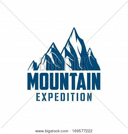 Climbing expedition or mountaineering sport icon or vector emblem with Alp rocks and snowy peaks. Isolated badge for alpine climb extreme adventure, mountaineering winter nature trip or tourist camping expedition, skiing or snowboarding