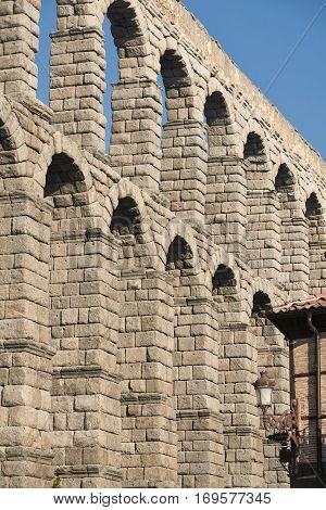 Segovia (Castilla y Leon Spain): the Roman aqueduct Unesco World Heritage Site