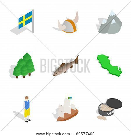 Sweden icons set. Isometric 3d illustration of 9 Sweden vector icons for web