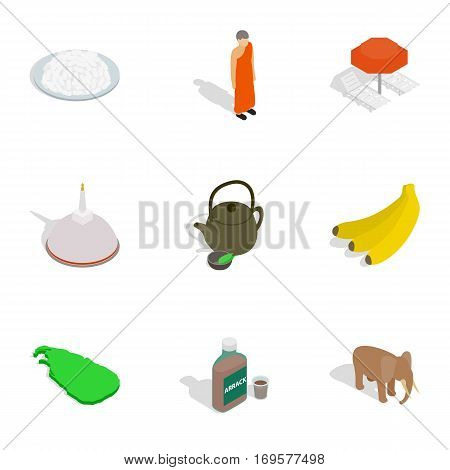 Sri Lanka travel symbols icons set. Isometric 3d illustration of 9 Sri Lanka travel symbols vector icons for web