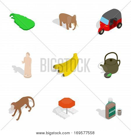 Sri Lanka cultural icons set. Isometric 3d illustration of 9 Sri Lanka cultural vector icons for web