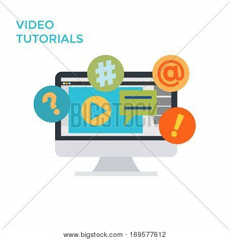 Flat design monitor icon video tutorials. Vector illustration