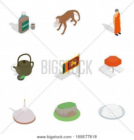 Symbols of Sri Lanka icons set. Isometric 3d illustration of 9 symbols of Sri Lanka vector icons for web