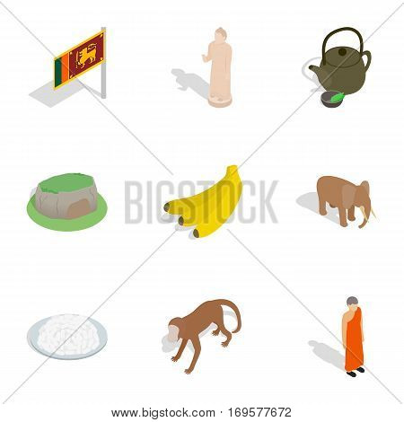 Welcome to Sri Lanka icons set. Isometric 3d illustration of 9 welcome to Sri Lanka vector icons for web