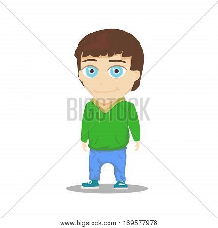 Cartoon Boy Character isolated on white background. Vector illustration