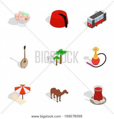 Turkey travel symbols icons set. Isometric 3d illustration of 9 Turkey travel symbols vector icons for web