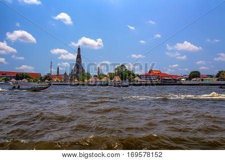 Scenic view to Bangkok from Chao Phraya river, Thailand