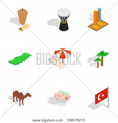 Welcome to Turkey icons set. Isometric 3d illustration of 9 welcome to Turkey vector icons for web