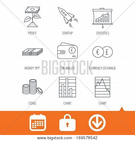 Profit investment, cash money and startup rocket icons. Wallet, currency exchange and euro linear signs. Chart, coins and statistics icons. Download arrow, locker and calendar web icons. Vector