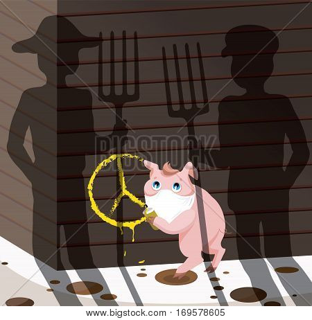 concept of vegetarianism.little pig making graffiti on wall of barn.Sign pacifism.She saw farmers with pitchforks.vegetarian message-not harm all living.Vector illustration for magazines, vegan blogs,