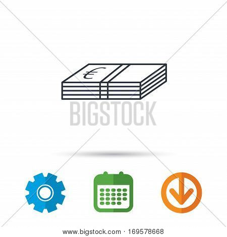 Cash icon. Euro money sign. EUR currency symbol. Calendar, cogwheel and download arrow signs. Colored flat web icons. Vector