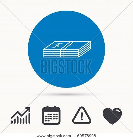 Cash icon. Dollar money sign. USD currency symbol. Calendar, attention sign and growth chart. Button with web icon. Vector