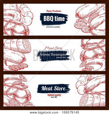 Sausages and barbecue meat delicatessen vector sketch banners with bbq wurst and currywurst artisan sausages, pepperoni or salami kielbasa, pork bacon and beef steak. Design set for butchery store, butcher shop meaty products