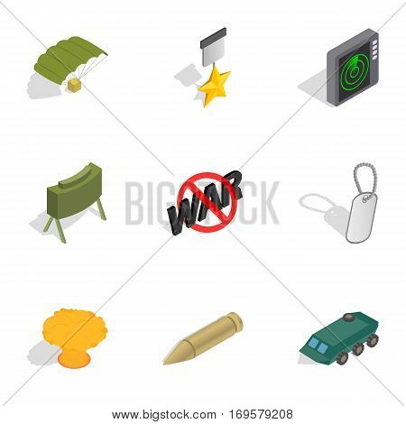 Army weapon icons set. Isometric 3d illustration of 9 army weapon vector icons for web