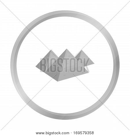 Egyptian pyramids icon in monochrome style isolated on white background. Ancient Egypt symbol vector illustration.