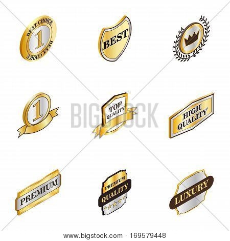 Best choice banner icons set. Isometric 3d illustration of 9 best choice banner vector icons for web