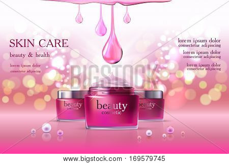 Beauty cosmetic product poster, rink rose cream ads, makeup template, pink skin care cream package or liquid. Sparkling shiny glitter background 3D Vector stock illustration .