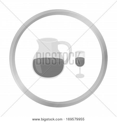 Sangria icon in monochrome style isolated on white background. Alcohol symbol vector illustration.
