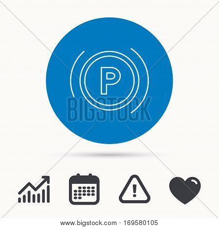 Parking icon. Dashboard sign. Driving zone symbol. Calendar, attention sign and growth chart. Button with web icon. Vector