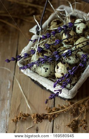 Quail eggs in a lined wire basket, on straw, with beige dry flowers and lavender twigs on barn wood background, Easter, rustic vintage style, kinfolk, simplicity, top view