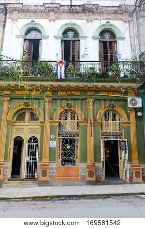 Old House  At The Neighborhood Of Habana Vieja In Havana