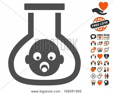 Test Tube Baby icon with bonus dating graphic icons. Vector illustration style is flat iconic elements for web design app user interfaces.