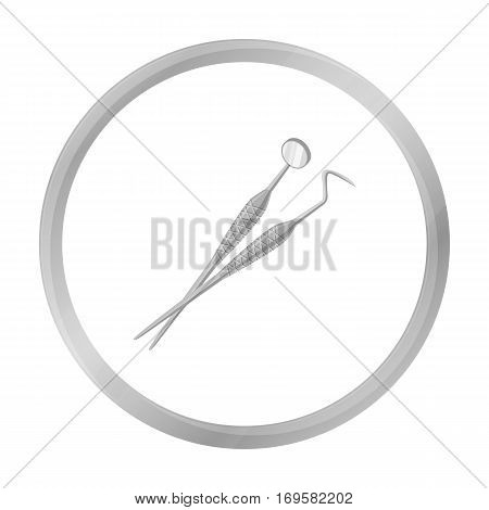 Dental instruments icon in monochrome style isolated on white background. Dental care symbol vector illustration.