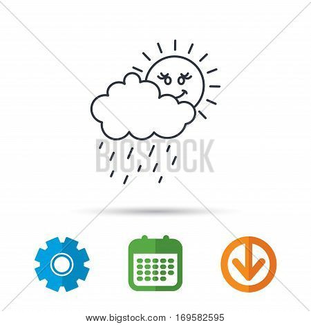 Rain and sun icon. Water drops and cloud sign. Rainy overcast day symbol. Calendar, cogwheel and download arrow signs. Colored flat web icons. Vector