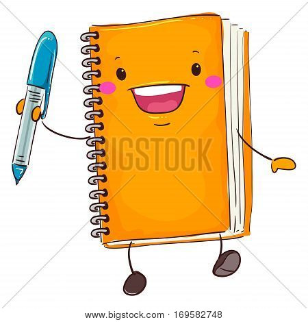 Vector Illustration of Notebook Mascot Holding a Pen