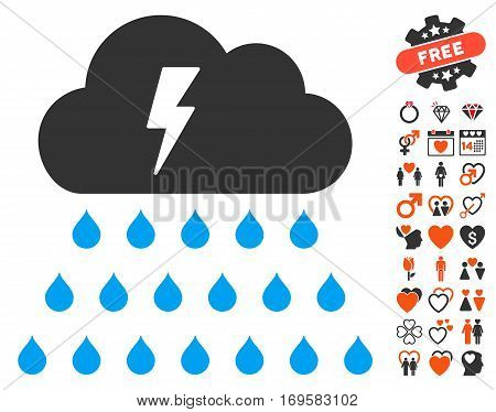 Thunderstorm Rain Cloud icon with bonus passion pictures. Vector illustration style is flat iconic symbols for web design app user interfaces.