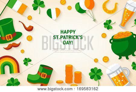Happy St. Patrick's Day Background with Irish Flat Icons. Vector illustration. Patrick concept symbols. Pub Party Invitation template or menu cover design.