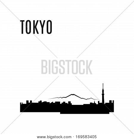 Tokyo City skyline black silhouette modern typographic design. Japan landmark vector illustration. Tokyo City landscape on a background of mountains. Architecture of Japanese downtown. Tokyo panorama