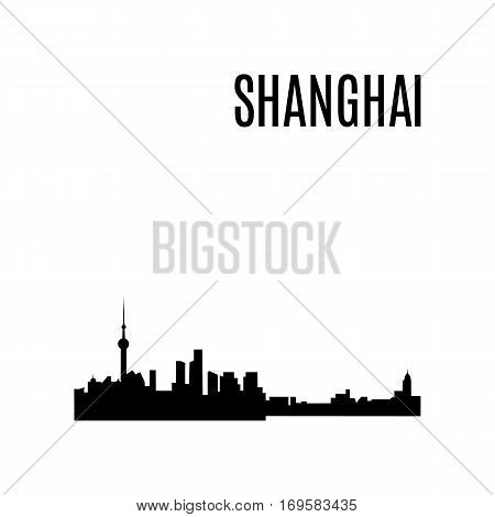 Vector Shanghai City skyline silhouette typographic design panorama. China landmark, architecture. Famous Skyscrapers: Jin Mao Tower,Shanghai World Financial Center,Oriental Pearl Tower,Shanghai Tower