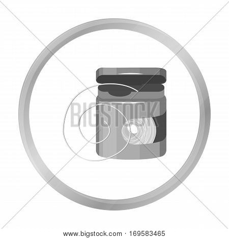 Dental floss icon in monochrome style isolated on white background. Dental care symbol vector illustration.