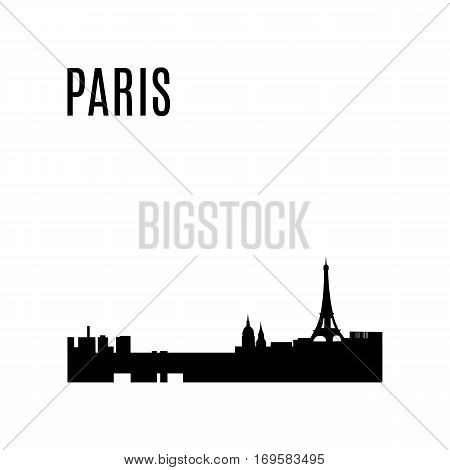 Vector Paris City skyline black silhouette modern typographic design panorama. Paris landmark. Eiffel Tower, Les Invalides, Saint Germain des Pres Church, Maine Montparnasse Tower. Vector architecture