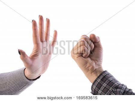 Woman making stop gesture man showing fist on a white background. Stop the violence