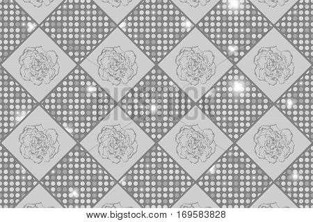 Silver Seamless Chess Styled Vintage Texture With Clove Flowers And Shining Rounds. Vector Illustrat