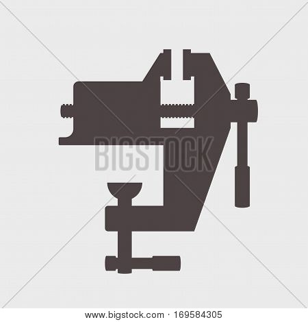 bench screw tool icon on a gray background Vector illustration.