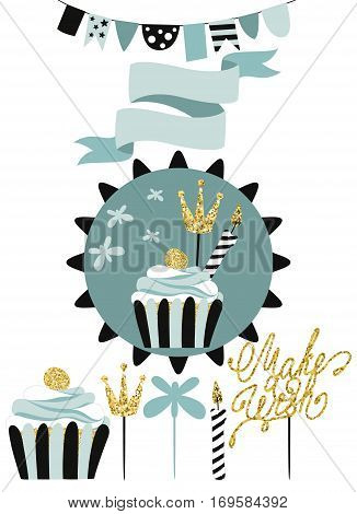 Celebratory cake with set of decoration, toppers, candles and garlands with flags. Vector hand drawn illustration, scandinavian style in mint colors with gold glittering elements.
