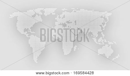 Dotted world map on a gray background. Vector illustration