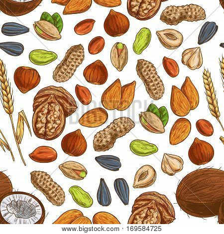 Nut, seed and cereal seamless pattern of peanut, almond, pistachio, walnut, hazelnut, tropical coconut, wheat and sunflower seed. Vegetarian dessert, snack food background design