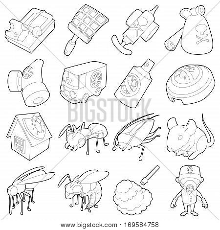 Pest control terminate icons set. Outline illustration of 16 pest control terminate, vector icons for web