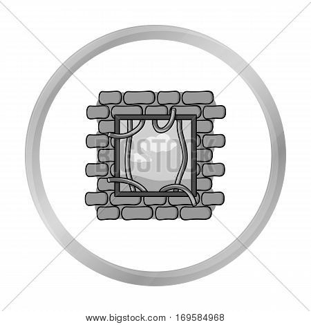 Prison escape icon in monochrome style isolated on white background. Crime symbol vector illustration.