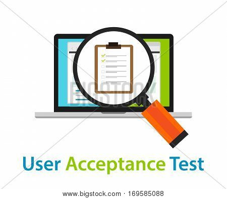 user acceptance test UAT software quality assurance approval process coding review vector poster