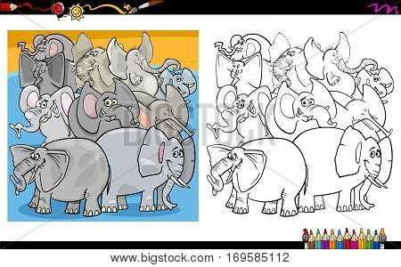 Cartoon Elephants Coloring Page