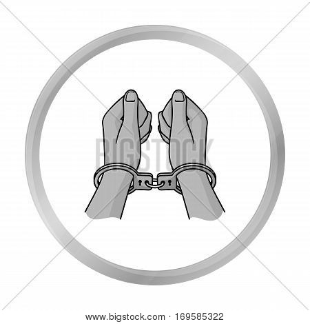 Hands in handcuffs icon in monochrome style isolated on white background. Crime symbol vector illustration.